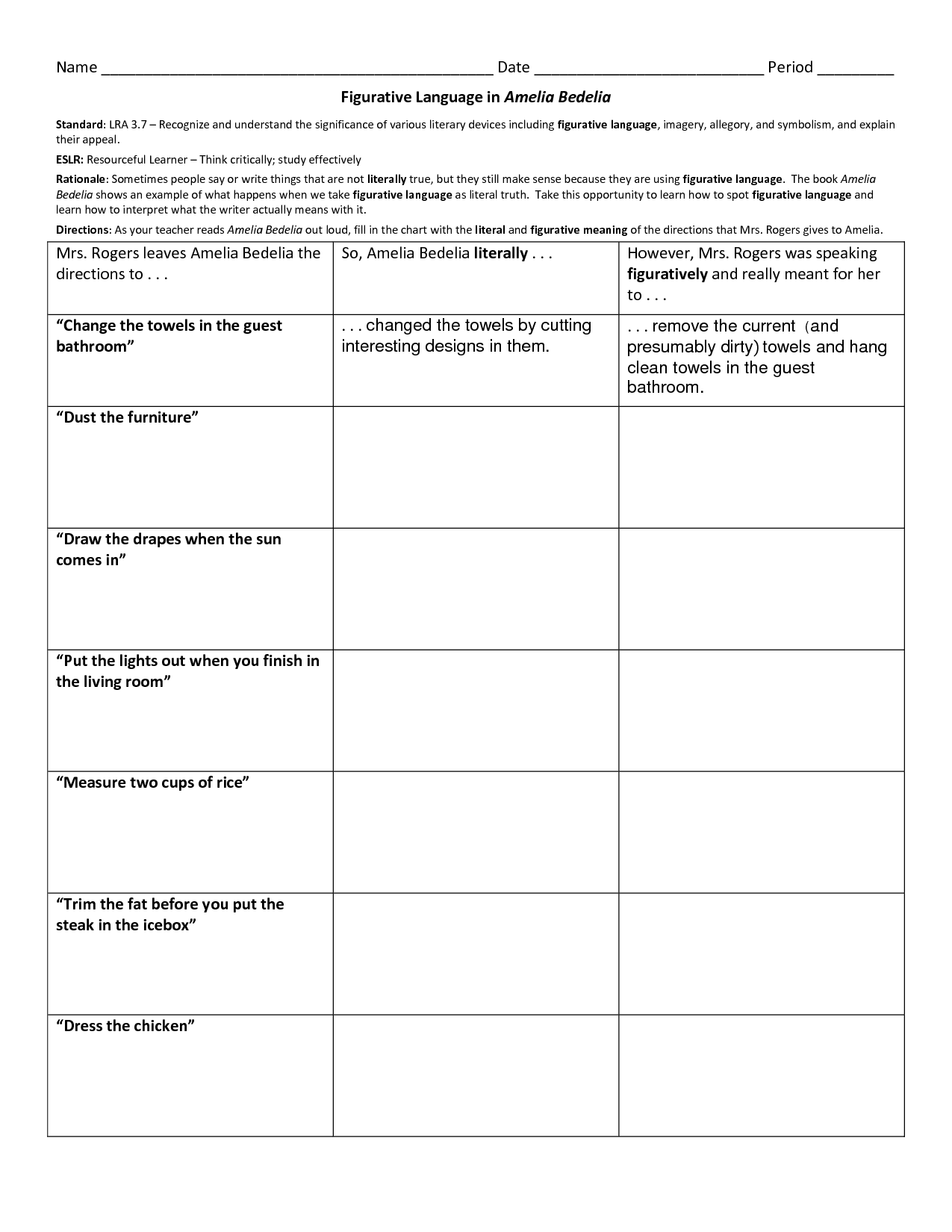 Fifth Grade Idioms Worksheets
