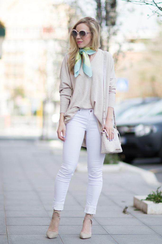 Spring Neutrals: oversized beige sweater, AG Jeans white legging ...