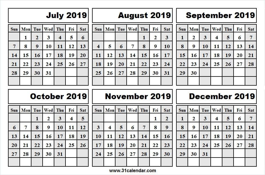 July To December 2019 Calendar With Lines 2019 Calendar