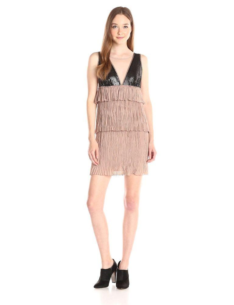 New Bcbgmaxazria Bcbg Dress Averal Black Sequin Rose Gold Beige Ruched Size Xs Empirewaist Formal