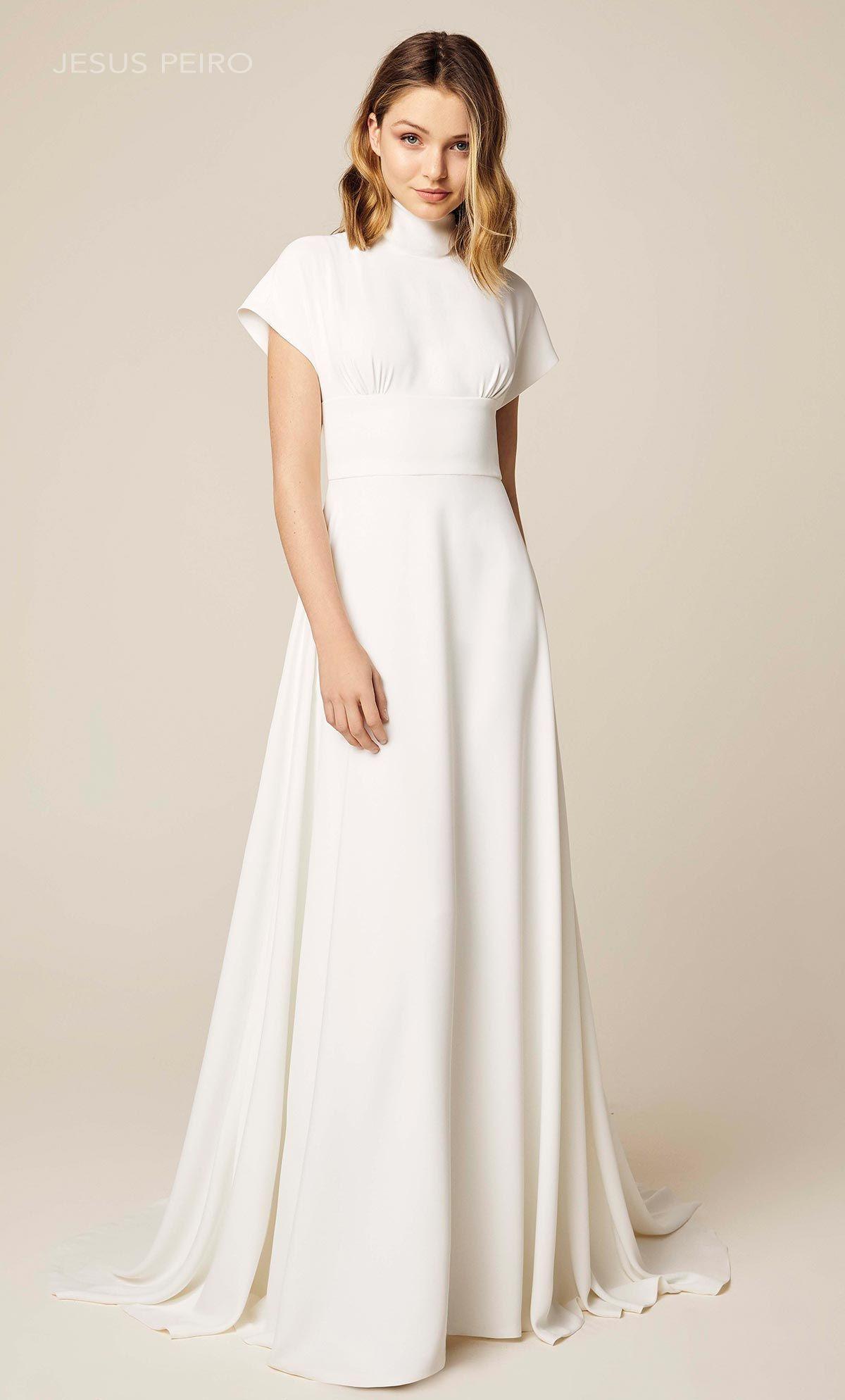 Modest Turtleneck Crepe Wedding Dress In 2020 Modern Wedding Dress Minimalist Wedding Dresses High Neck Wedding Dress