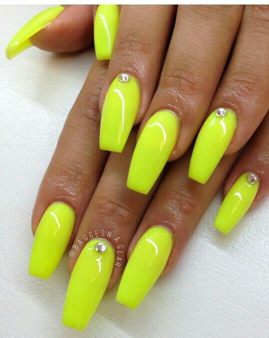 That Neon Yellow Nails Design Neon Yellow Nails Yellow Nails