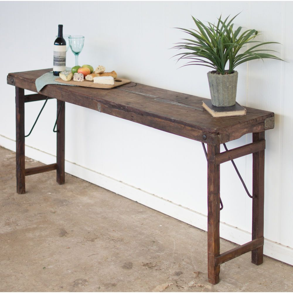 Recycled Wood Folding Buffet Display Table Wood Console Table