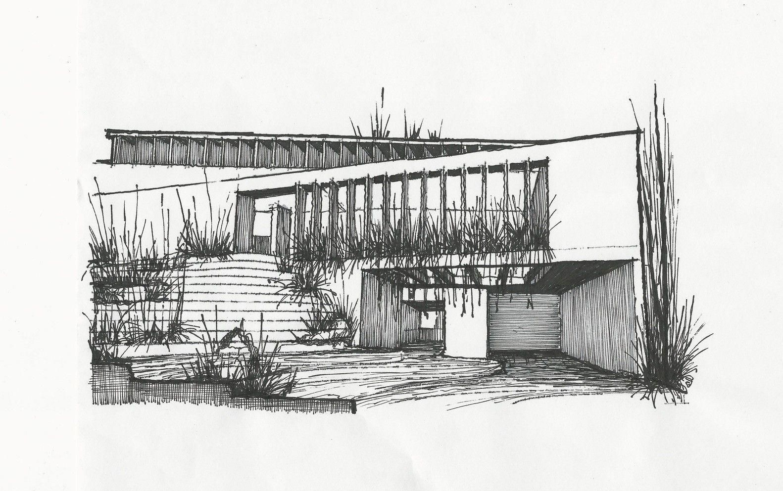 Modern concrete and wood house drawing sketch, black ink