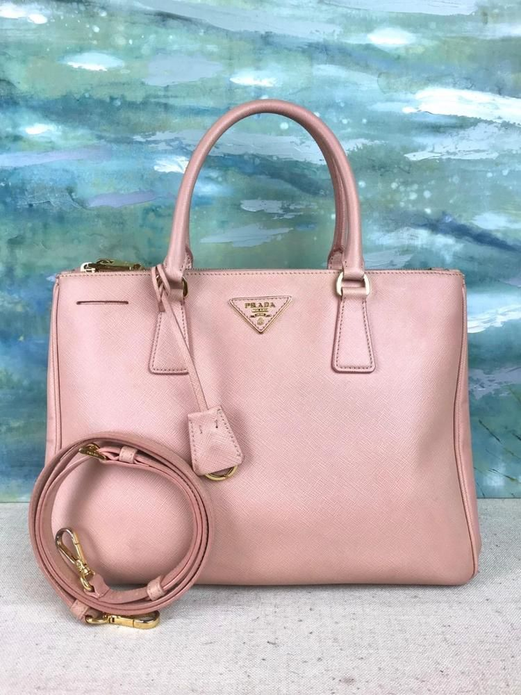 9befaf0cf9eefb ... sale 2390 prada saffiano lux pink cammeo tote double zip shoulder bag  gold sale euc 003ba