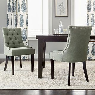 Safavieh En Vogue Dining Abby Grey Linen Nailhead Side Chairs Set Of 2 Linen Dining Chairs Dining Room Bar Dining Chairs