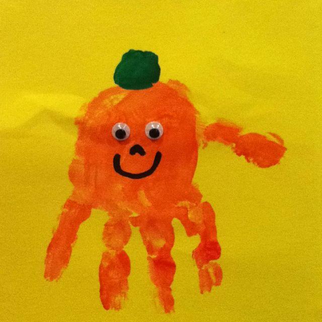 Pumpkin handprint for Halloween Edie Horton