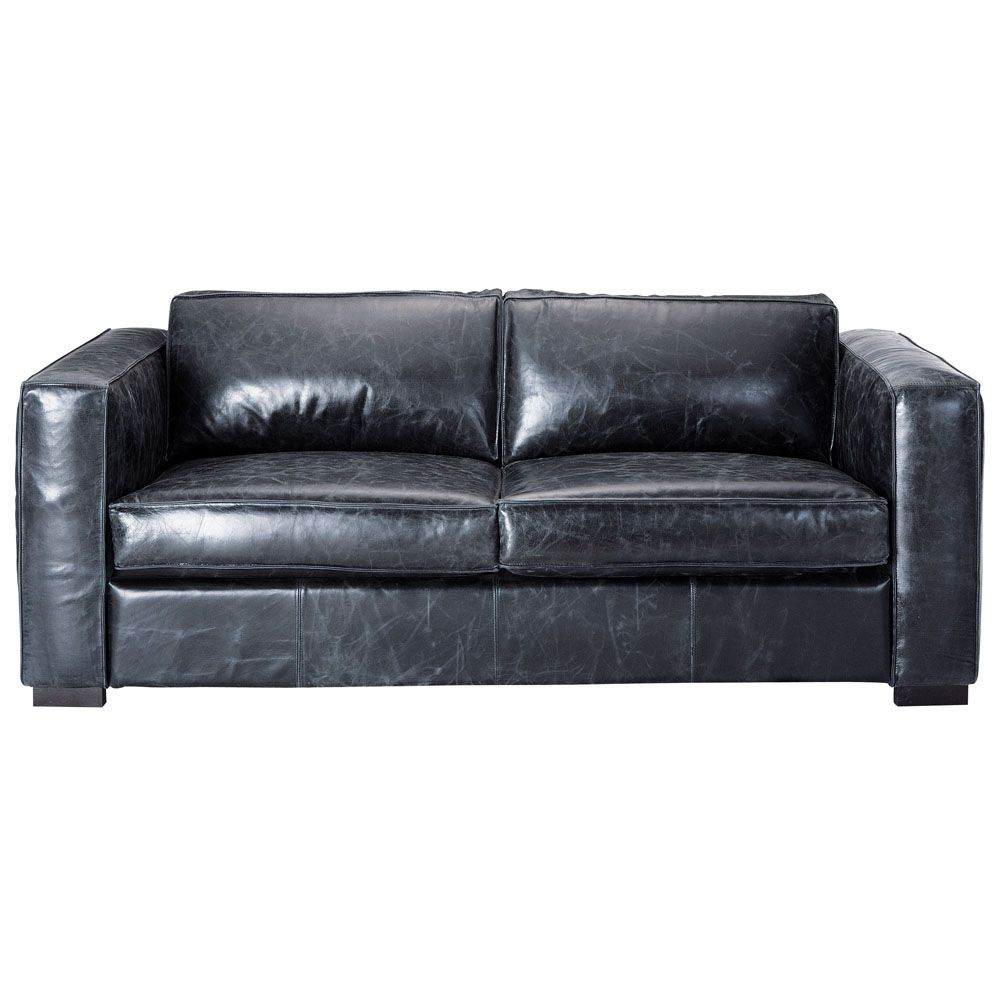 Leather Sofa Bed In Black Seats Would Prefer In Brown And Not Sure How Comfy It Looks Leather Sofa Bed 3 Seater Leather Sofa Leather Sofa