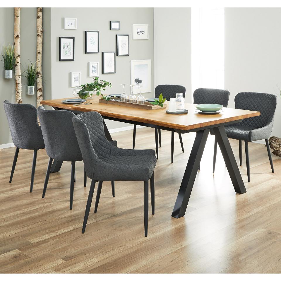 Essgruppe New York 100x210 6 Polsterstuhle Grau Kuchentisch Und Stuhle Speisezimmereinrichtung Esszimmer Mobel