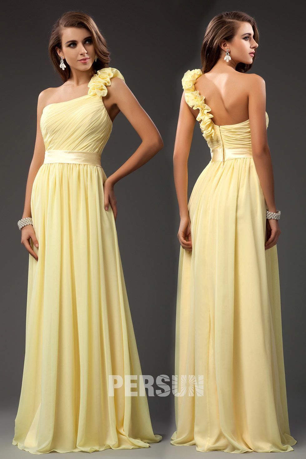 Gorgeous Ruffle One Shoulder Chiffon Long A line Bridesmaid Dress ...