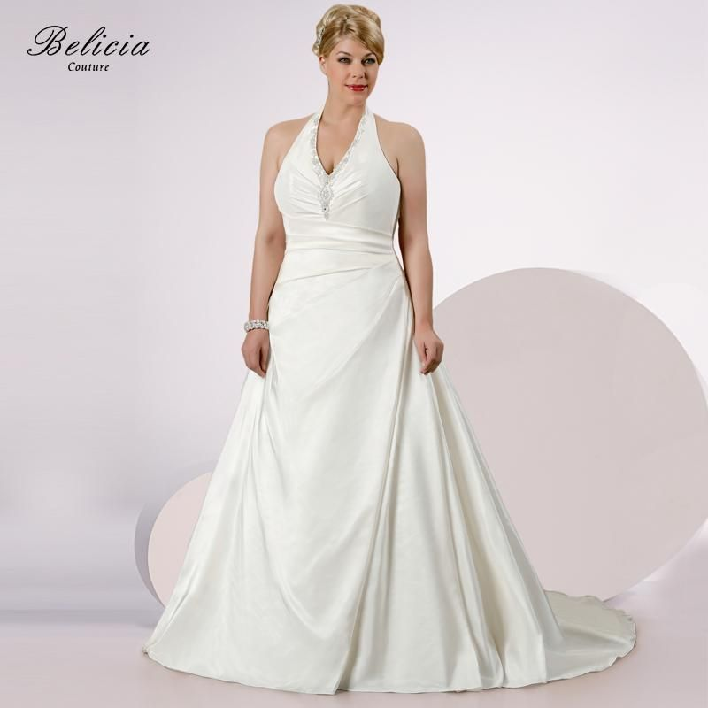 Belicia Couture Wedding Dress couture V-neck Halter Ivory White Plus Size  Beading Appliques Lace up Back Quality Bridal Gowns 2190aa6c4f75