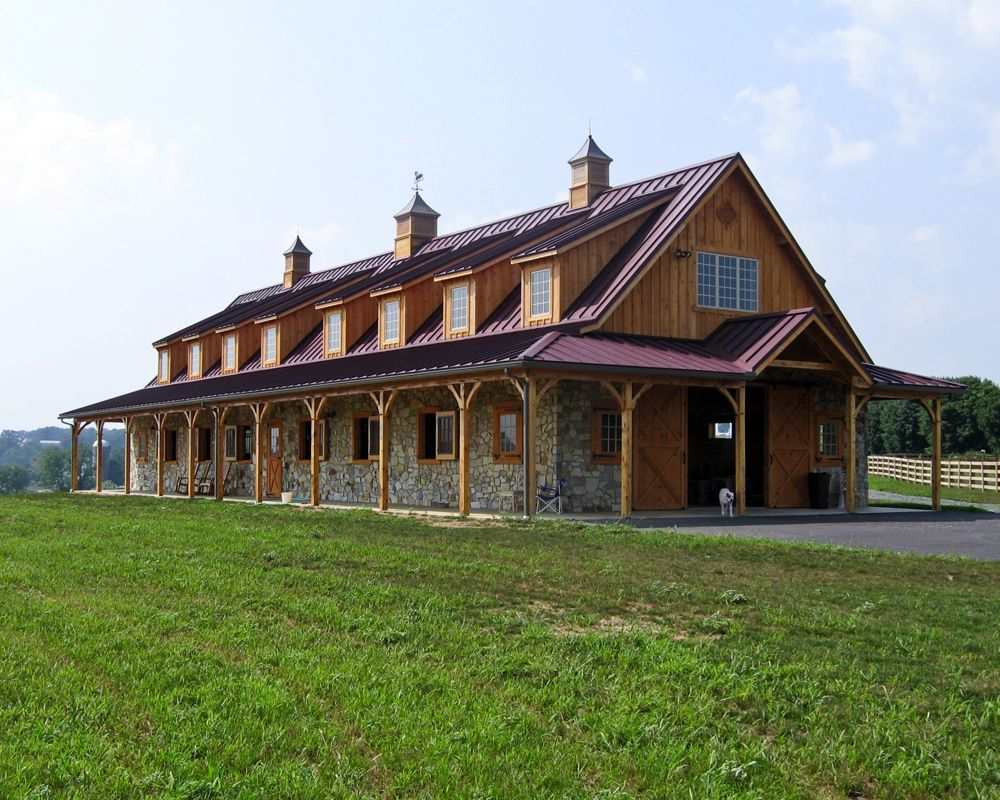 Horse barn with red metal roof and stone wainscotting for Red metal barn