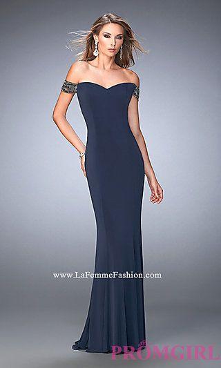 3d5e9d89632b Long Off the Shoulder Open Back La Femme Prom Dress   hair for prom ...