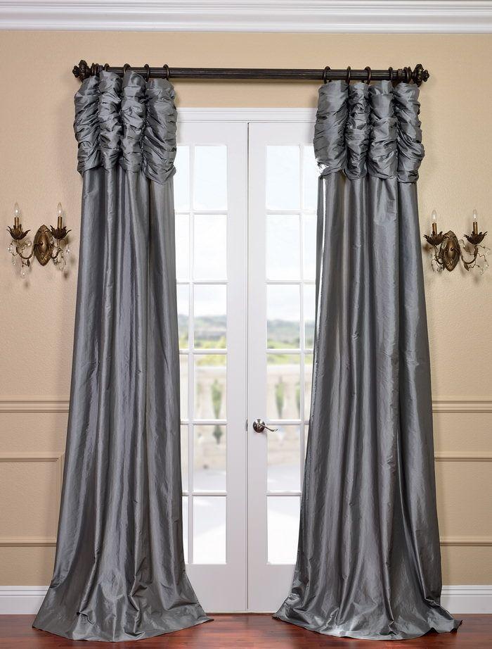 Ruched Faux Silk Taffeta Curtain Platinum Faux Silk Curtains Half Price Drapes Panel Curtains