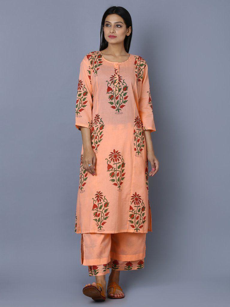 Peach block printed straight fit cotton mul kurta kurti designs