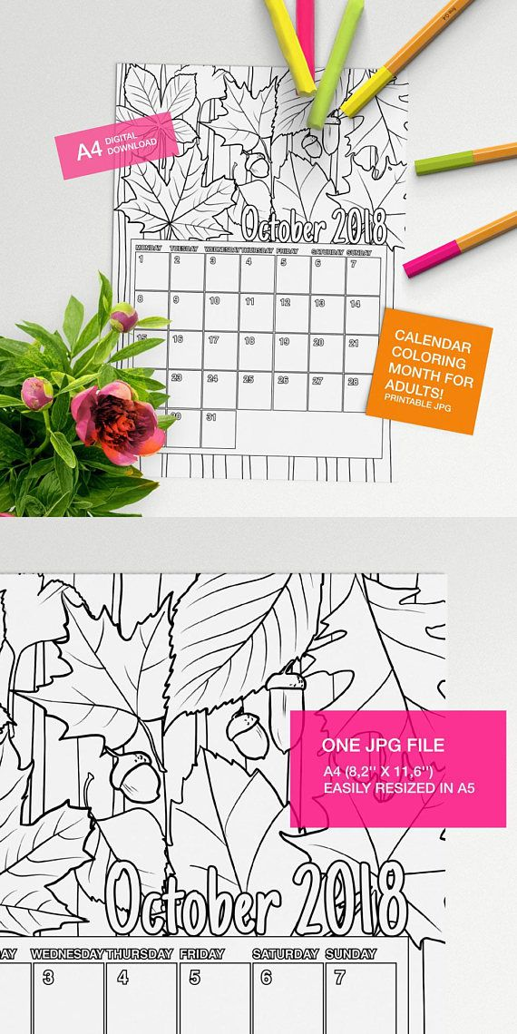 Self Made Calendar 2018 : October calendar to color for adults printable