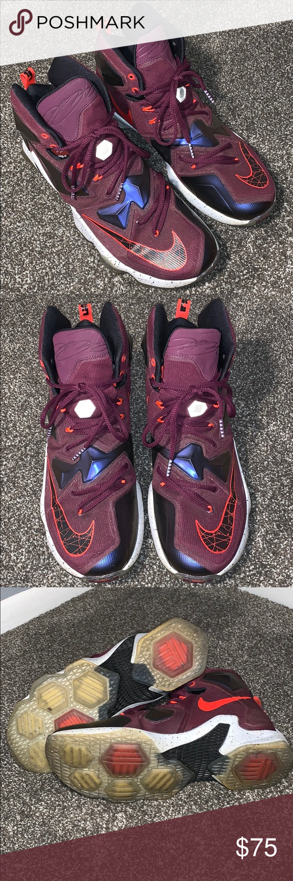 big sale 2f8f7 7460b Men's Nike LeBron 13 (Burgundy) Only worn a handful of times ...