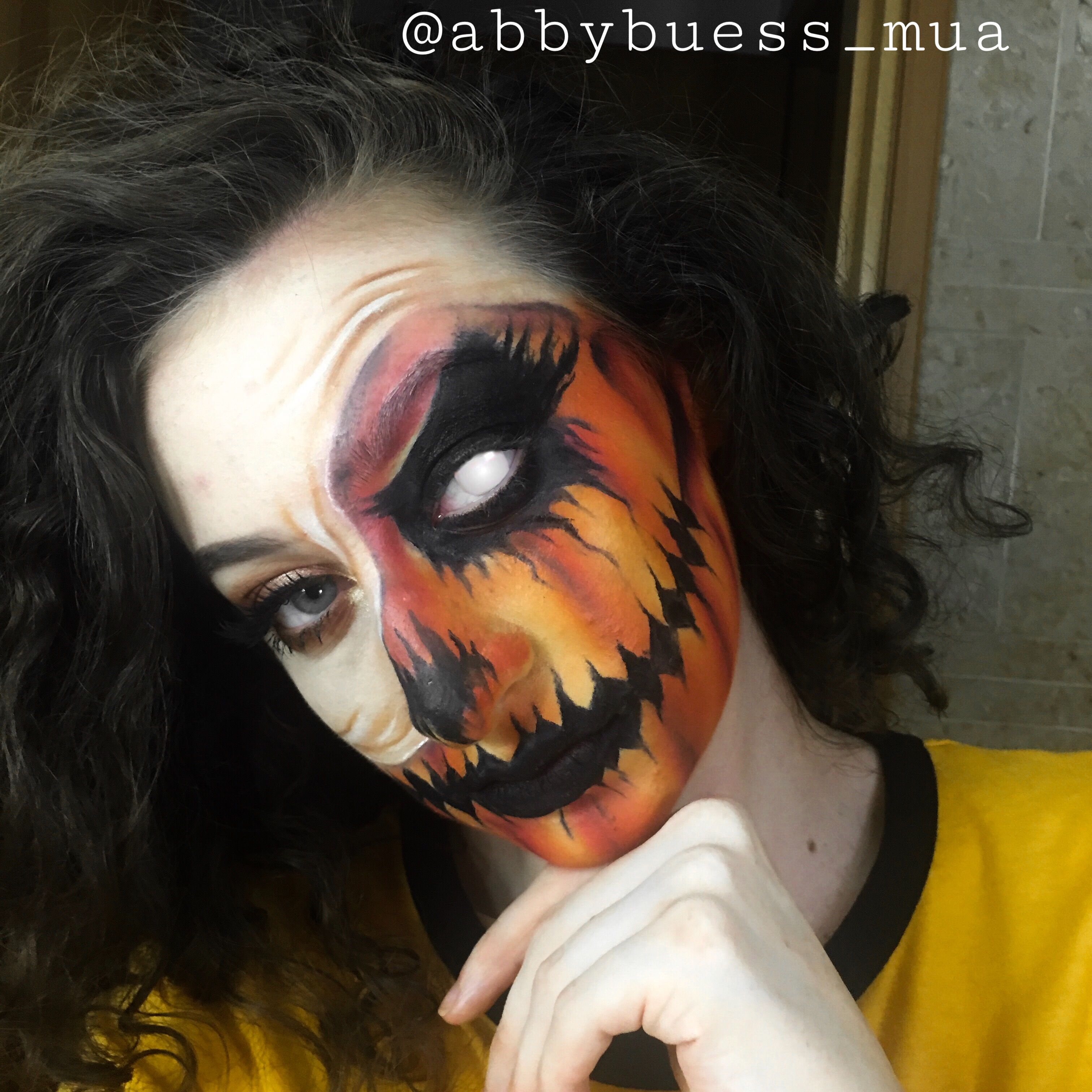 Half face pull up pumpkin Halloween makeup instagram