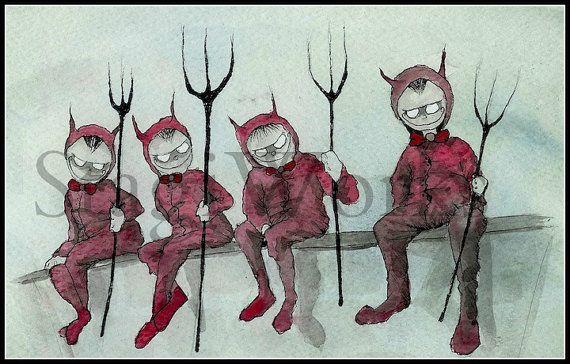 Handsome Little Devils Digital Image Watercolor Art by StagiWorks, $1.50