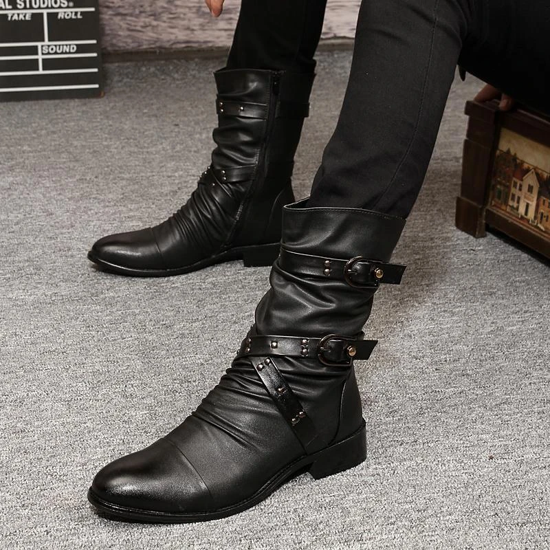Mens Martin Boots Vintage Rivets Buckle Mid Calf Motorcycle Riding Boots