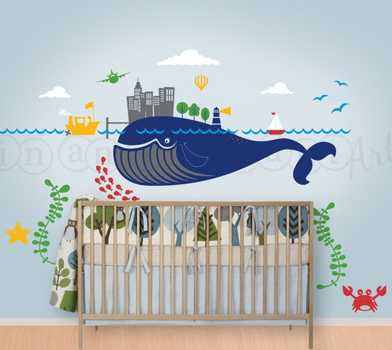 Under The Sea Transportation Scene With Whale Wall Decal For A Nursery