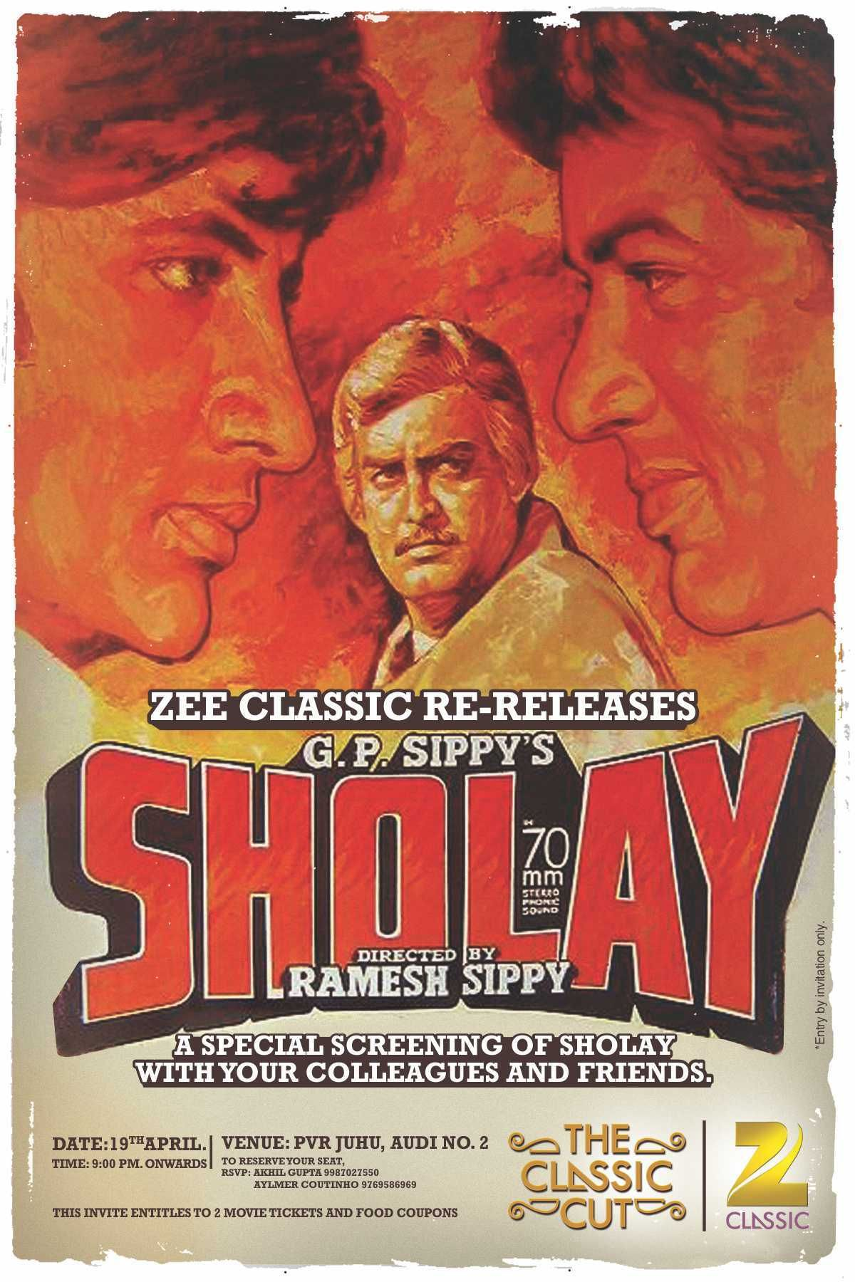 Sholay, Deewar to re-release in Delhi & Mumbai - DearCinema.com ...