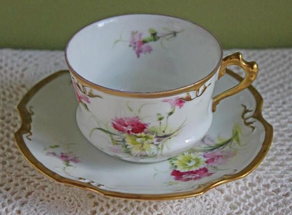 Limoges Coronet Tea Cup with Saucer. Fine French Porcelain with Hand ...