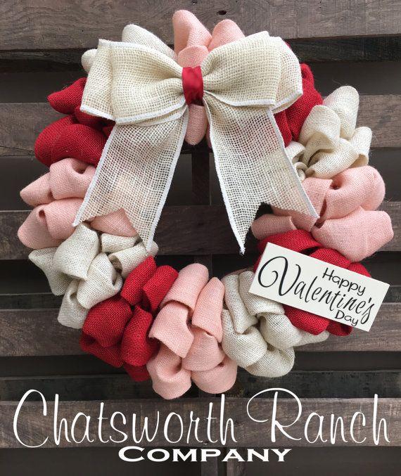 Valentine's Day Love Rustic Burlap Wreath by ChatsworthRanchCo