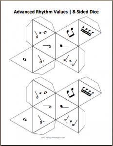 Music printable dice, YES!!! I could make one with notes