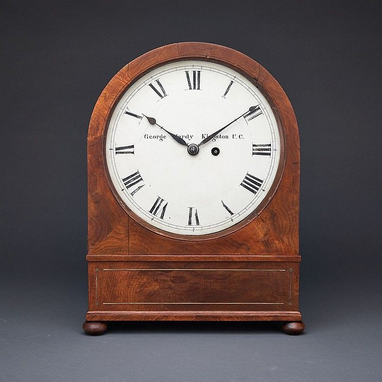Early Canadian Bracket Clock George Hardy Kingston C 1820 The 10 Inch White Enamelled Dial With Roman Numeral Chapte Bracket Clocks Clock Antique Wall Clock