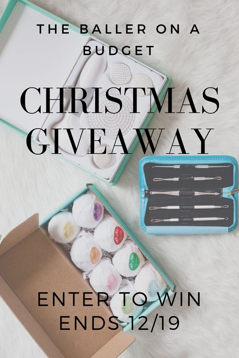 Since this is my first Christmas for The Baller on a Budget, I wanna hook you guys up with some spa gifts. 3 lucky winners will have the chance to win a facial brush cleansing system, an 8-piece bath bomb set, and an extraction kit! Click to enter the giveaway! www.theballeronabudget.com