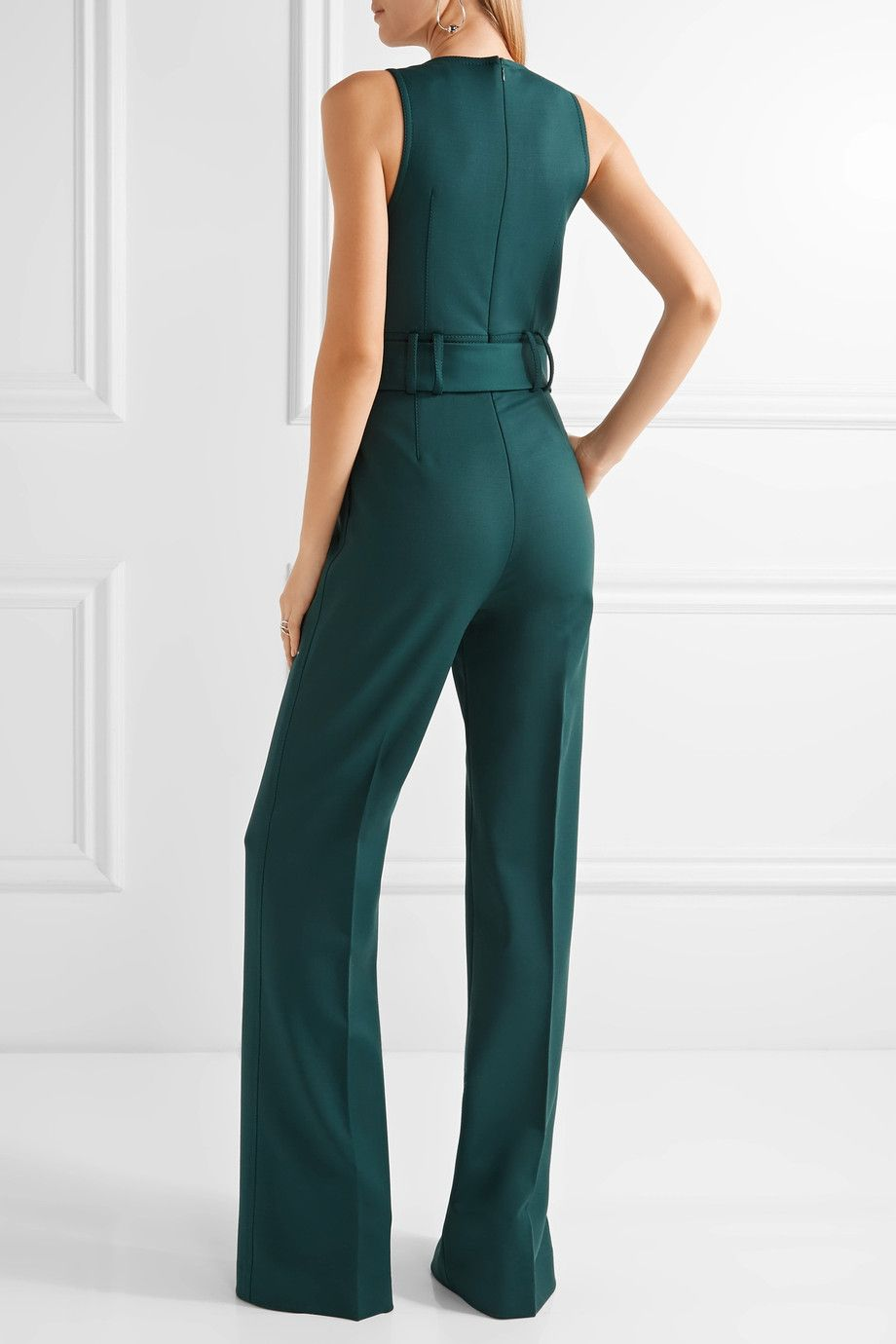 Emerald stretch-wool Concealed hook and zip fastening at back 99% wool, 1% Lycra Dry clean Made in Italy