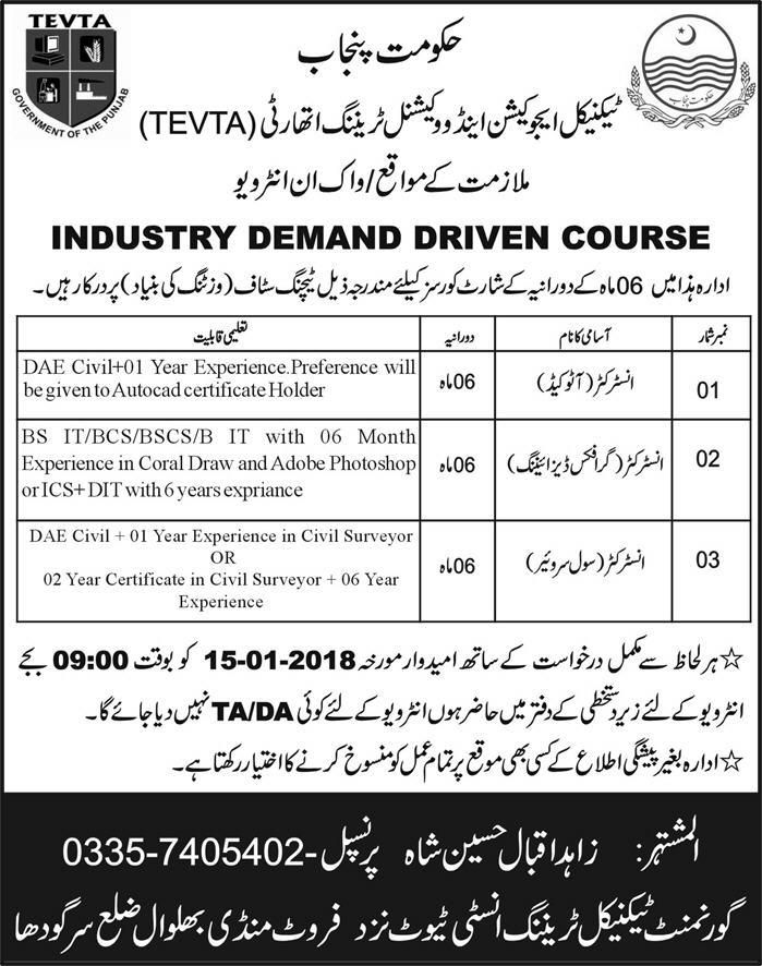 government department punjab technical education and vocational training authority jobs name of posts and qualification instructor