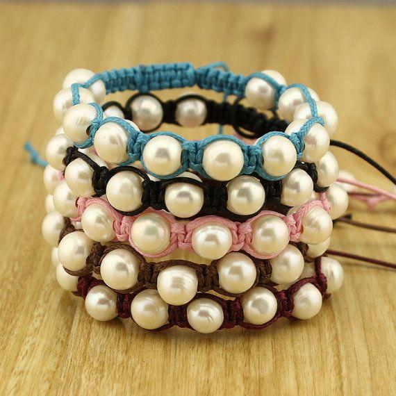 Pearl Woven cord bracelet - Adjustable Pearl Bracelet - Gift for her - ETS-B351
