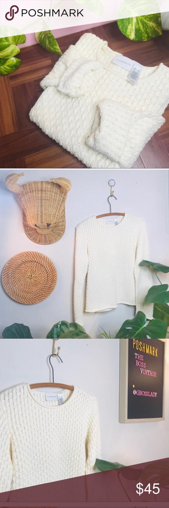 vtg vsco fisherman chunky knit white sweater Vintage Retro 90s Chunky Fisherman Crop Sweater • Tags say small but would fit a XS nicely as an oversi...