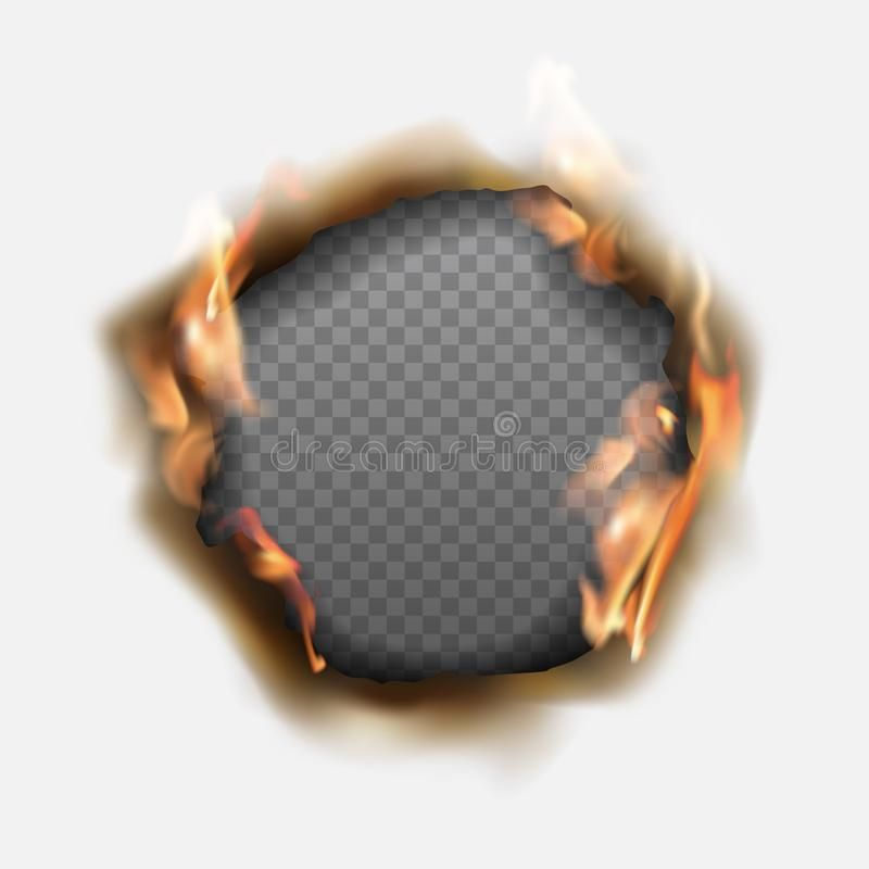 Vector Realistic Hole Burnt In Paper With Brown Edges And Flames On Transparent Background Vector Illustration Transparent Background Vector Transparent