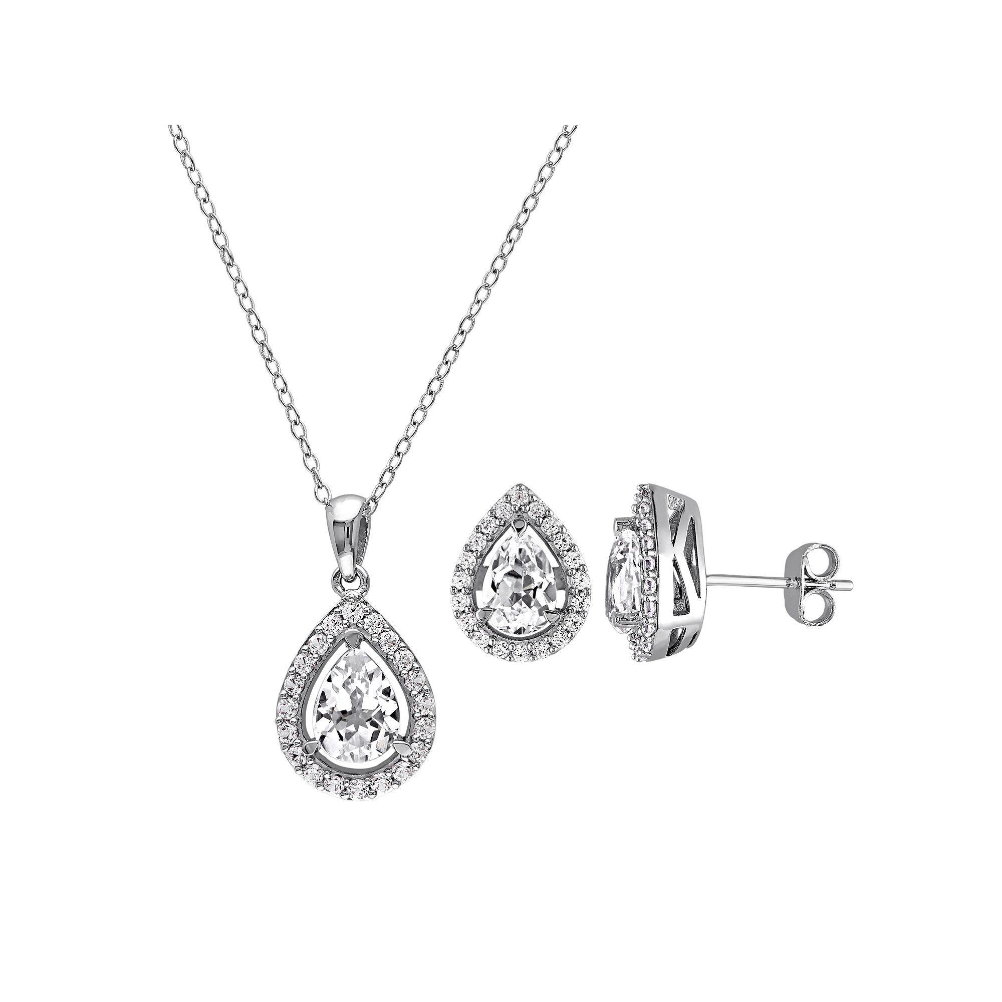 Kohlus labcreated white sapphire sterling silver teardrop halo