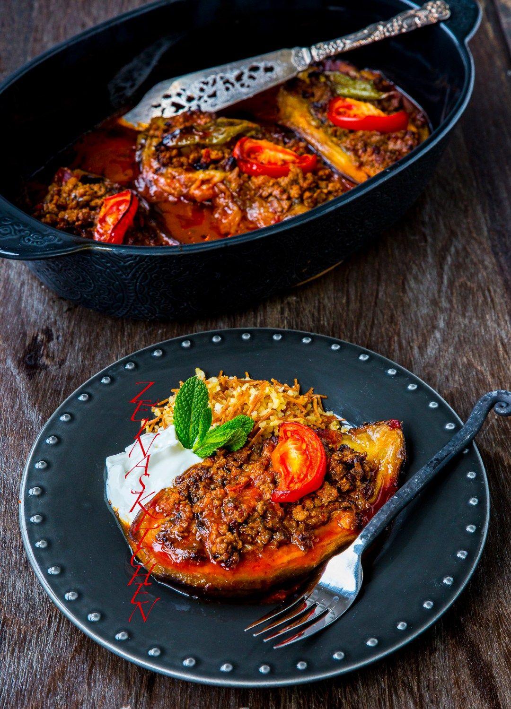 Karniyarik Turkisk Aubergine Fyllda Med Fars Zeinas Kitchen Turkiska Recept Recept Gurkmeja Recept