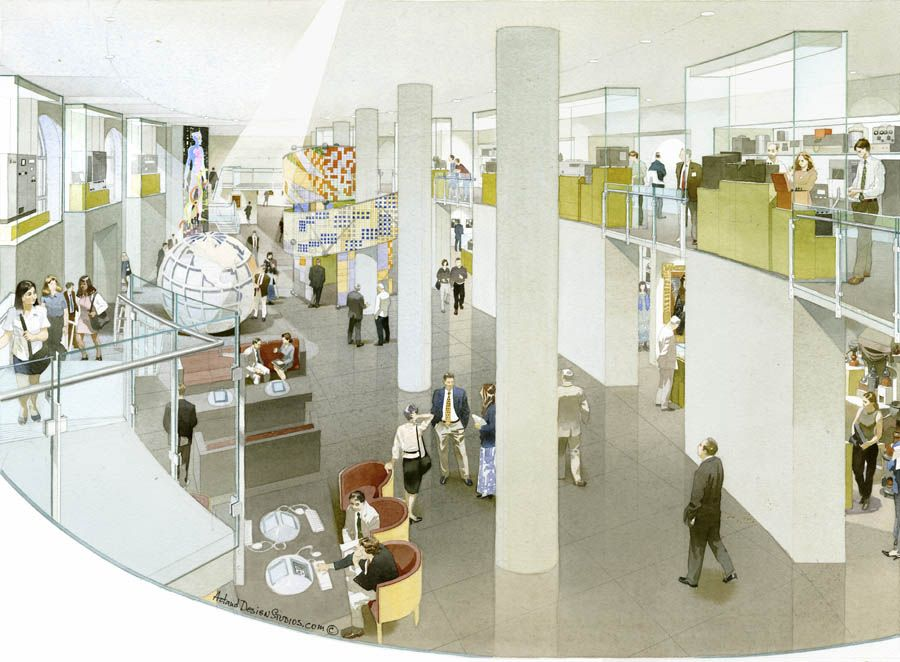 D Rendering Exhibition : Chemical heritage foundation exhibition rendering museum