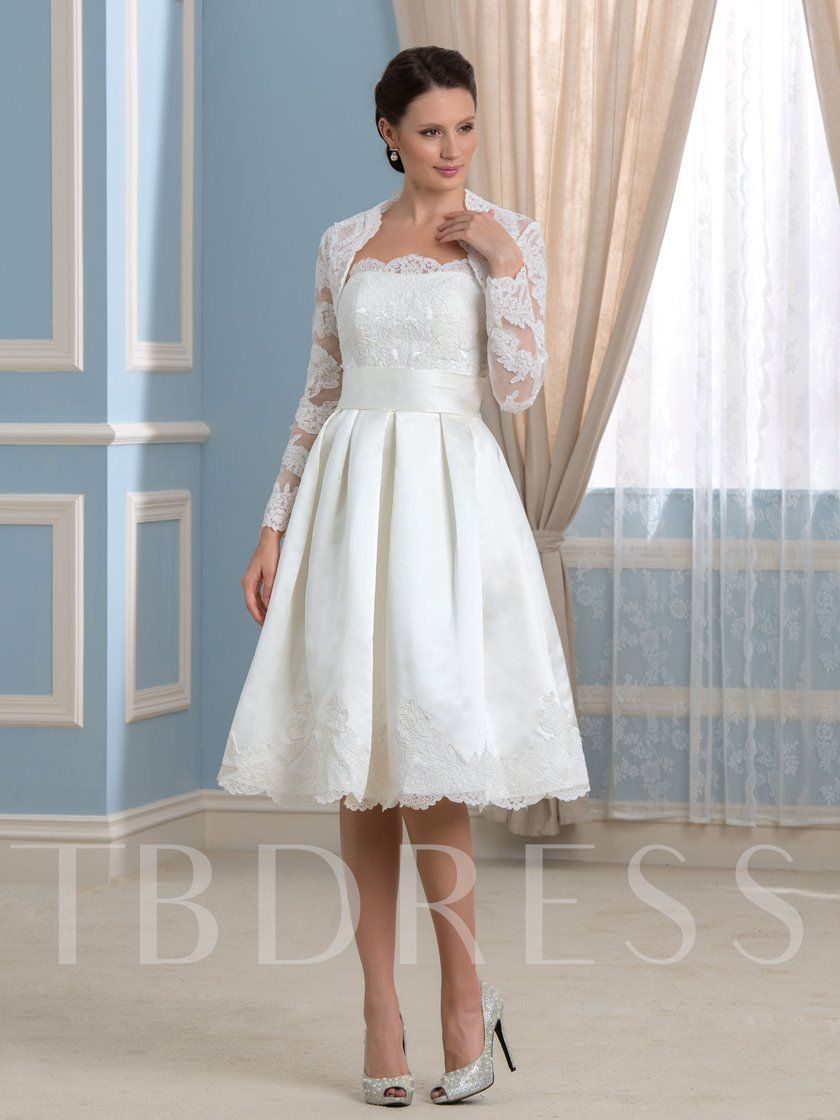 Appliques Short Wedding Dress With Long Sleeve Jacket Short Wedding Dress Wedding Dresses Knee Length Wedding Dress