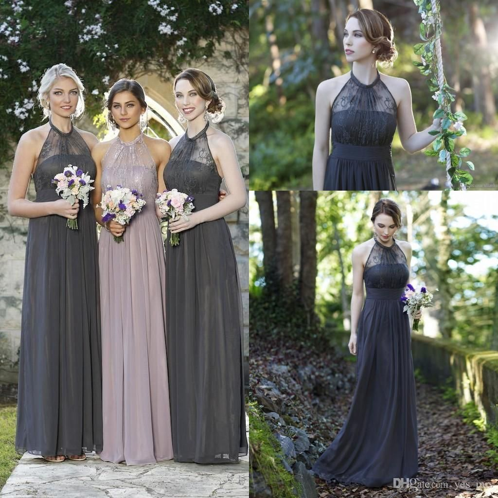 2016 bohemian bridesmaid dresses wedding guest wear v neck mint cheap bridesmaid dresses 2016 long for weddings halter illusion gray lace chiffon summer beach plus size ombrellifo Images