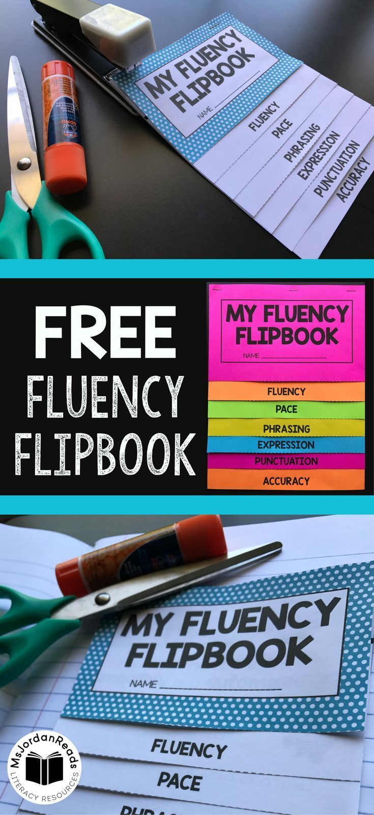 This Fluency Flipbook is a great reference for introducing and reviewing fluency in the classroom. Use this free  literacy resource for small group instruction, fluency stations, literacy centers, interactive notebooks, reading notebooks, or to send home