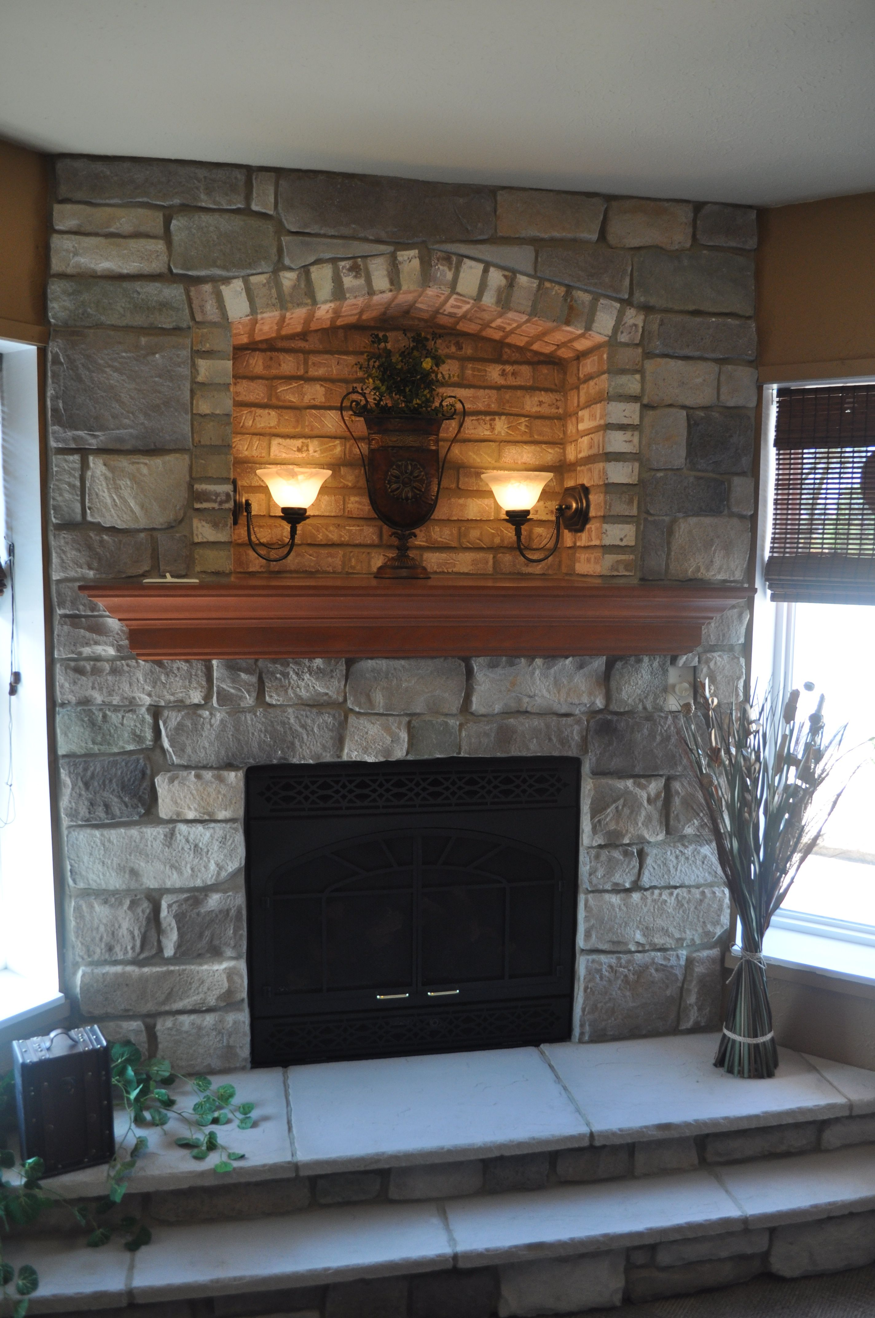 Stoned Fireplace with Cove 2-step Hearth and Crown Maple Mantle with Extended Shelf. Bucks Creek Cut Cobble and Desert Tan Brick J\u0026N Stone & Stoned Fireplace with Cove 2-step Hearth and Crown Maple Mantle ...