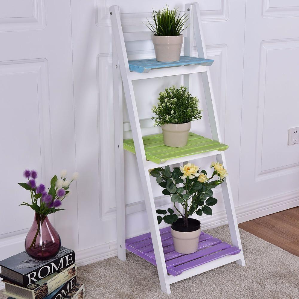 Buy Giantex Folding Wooden 3Tier Display Shelf Living Room Storage ...