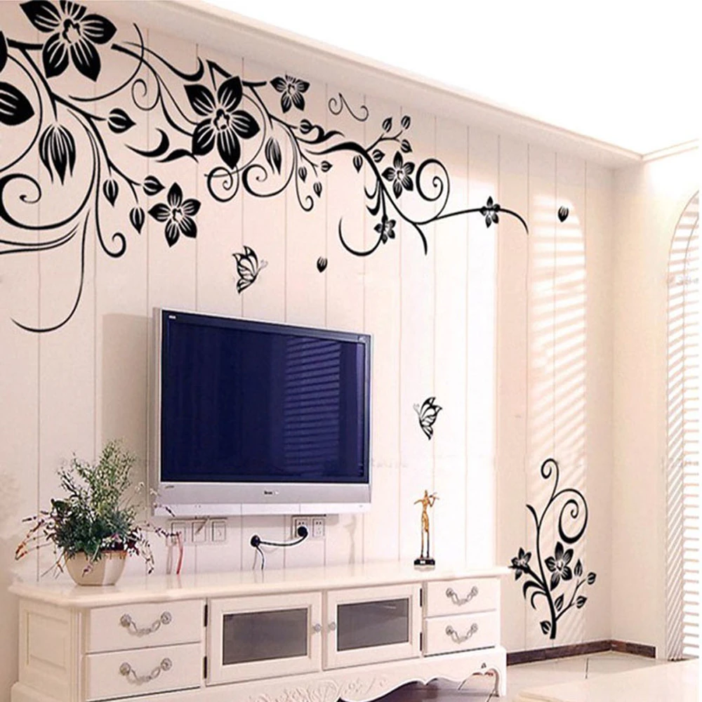 Floral Vines Wall Decal Elegant Flowers Pattern Removable Wall Art Decal Nordic In 2020 Wall Art Decor Living Room Wall Stickers Home Decor Wall Stickers Living Room