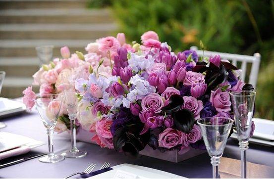 Ombre Inspiration Wedding Flowers Purple Reception Long Centerpiece Pink