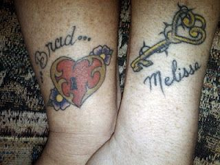 Wedding tattoos - Key to my heart.