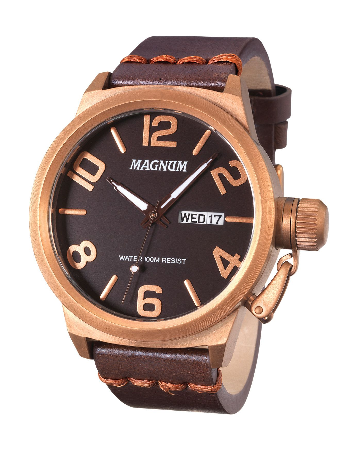 e66146efb96 Magnum MA33399M Men s Watch Brown Stainless Steel Case Brown Leather Band