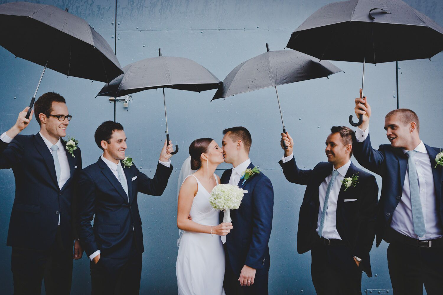 Rainy wedding photo navy suits black umbrellas wedding pinterest