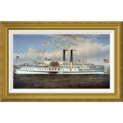 "Global Gallery 'People's Line Hudson River' by Currier and Ives Framed Painting Print Size: 18.41"" H x 28"" W x 1.5"" D"